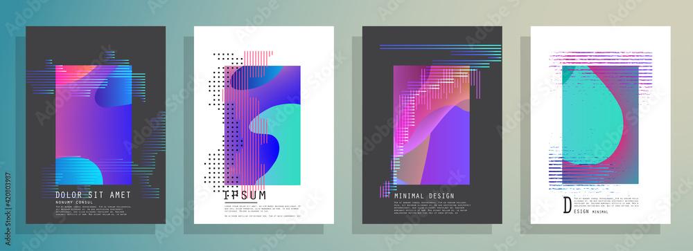 Fototapeta Artistic covers design. Creative colors backgrounds. Trendy futuristic design