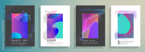 Obraz Artistic covers design. Creative colors backgrounds. Trendy futuristic design - fototapety do salonu