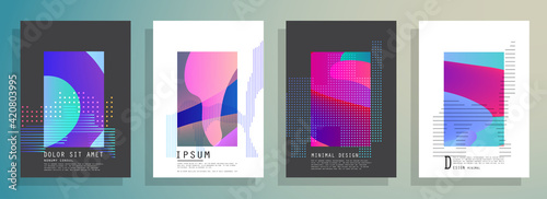 Fototapeta Artistic covers design. Creative colors backgrounds. Trendy futuristic design obraz na płótnie