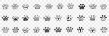 Animals Paws Footprints Doodle Set. Collection Of Hand Drawn Footprints Imprints Of Animals Dogs With Various Patterns In Rows Isolated On Transparent Background