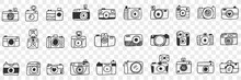 Photo Camera With Lens Doodle Set. Collection Of Hand Drawn Various Photo Camera Equipment For Photographers Work Isolated On Transparent Background