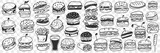Burgers fast food doodle set. Collection of hand drawn tasty junk food hamburgers cheeseburgers rolls sandwich lemonade in glass isolated on transparent background
