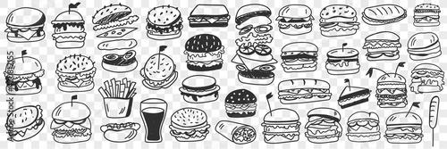 Fototapeta Burgers fast food doodle set. Collection of hand drawn tasty junk food hamburgers cheeseburgers rolls sandwich lemonade in glass isolated on transparent background obraz
