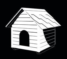 Dog House White On Black Background