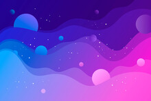 Abstract Space Banner. Vector Illustration. Template For Background, Card, Poster, Landing Page, Presentation. Abstract Shape, Wave, Planets, Stars. Milky Way. Universe, Galaxy.