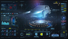Hologram Auto In HUD UI, UX Style. Futuristic Car Service, Scanning, Auto Data Analysis. Virtual Car Dashboard Concept. Futuristic Auto In Style Low Poly, Wireframe In Line. Diagnostics In FUI, GUI