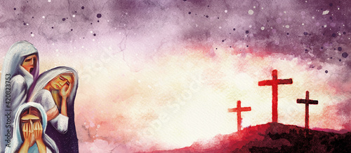 Photographie Crucifixion. Watercolor christian banner.