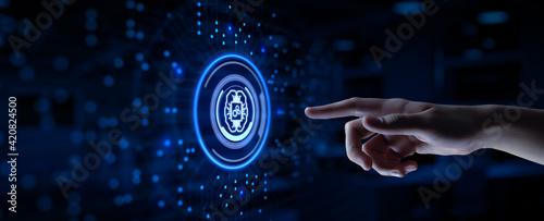 Fototapeta AI Artificial intelligence machine deep learning neural network cyber brain technology concept. Hand pressing button. obraz