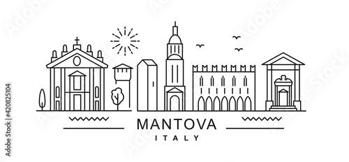 Fotografia Mantova minimal style City Outline Skyline with Typographic