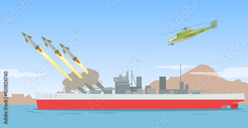 Obraz Warship shooting missile rockets. Military ship ballistic missile launch strike attack on sea. Flat vector illustration. Explosive warhead bomb navy weapon concept - fototapety do salonu