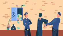 Police Officers Arresting Bank Safe Robber Man. Policemen Catching Thief Flat Vector Illustration. Security, Robbery Crime Concept For Banner, Website Design Or Landing Web Page