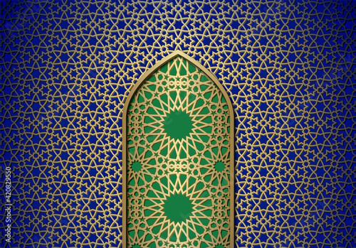 Slika na platnu Abstract background with door, islamic ornament, arabic geometric pattern or texture