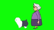 Animation Of An Old Woman Walking With A Cute Dog. Clip In High Resolution With Green Screen Background.