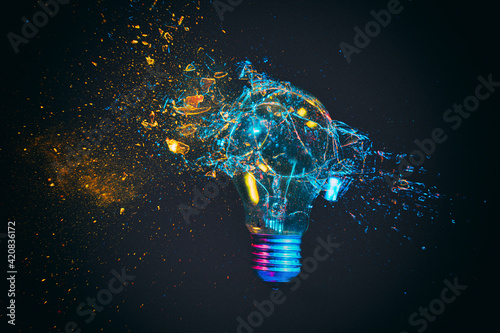 breaking of a traditional light bulb