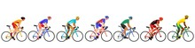A Group Of Cyclists Moving In Sequence.