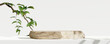 Leinwandbild Motiv Wooden product display podium with blurred nature leaves background. 3D rendering