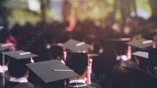 Fotografía Shot of graduation hats during successful early university graduates, Concept education congratulations