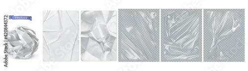 Fotografija Crumpled paper, white paper, transparent plastic film