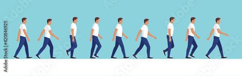 Obraz Man walking cycle side view - fototapety do salonu