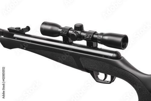 Black pneumatic rifle with an optical sight isolated on white back Fototapeta