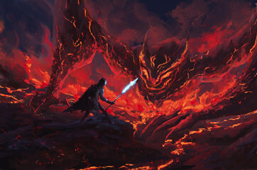 Warrior holding a frost spear standing confront lava dragon ,tale monster,creatures of myth and Legend ,digital art, Illustration painting.