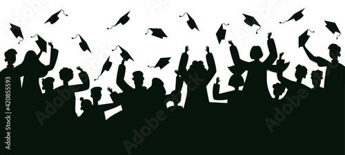 Fotografiet Graduates crowd silhouette