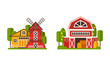 Country and Village House and Building Rested on Green Lawn Vector Set