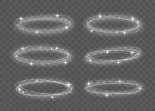 Abstract Luxury White Light Ring With Trace Effect. Light Effect Line White Vector Circle. Bright Trace From The Luminous Rays Of Twisting In A Rapid Movement In A Spiral, Magic Christmas Concept.