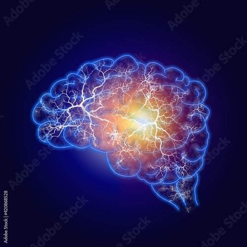Canvas Print Illustration human brain and nerve or blood vessel concept on dark blue backgrou