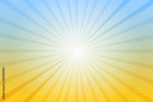 Abstract blue and yellow background with sun ray. Summer vector illustration for design - fototapety na wymiar
