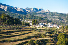 Beautiful Landscape Of Mountain Village Beniarda In Alicante Province, Costa Blanca, Spain, Europe. View From Guadalest