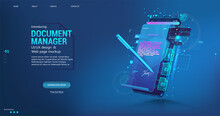 Document Manager - Mobile Phone App For Business. Signing A Contract Or Agreement Online. Digital Signature Concept Using A Pen On A Phone Or Tablet Display. E-signature And High Level Of Protection