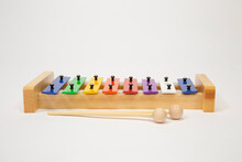 Colorful Wood And Metal Xylophone For Kids With Wooden Mallets