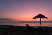 A Beach In South Turkey With Sunbeds And An Umbrella, Taken Right Before Sunrise