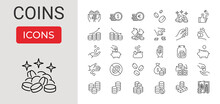 Set Of Coins Related Vector Line Icons. Contains Such Icons As Coins Stack, Donation, Tips Jar, Piggy Bank, Coin Toss, Exchange Money, Saving, Banknote Stack, Euro And Dollar Sign. Editable Stroke.