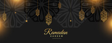 Ramadan Kareem Holy Festival Banner In Black And Golden Style