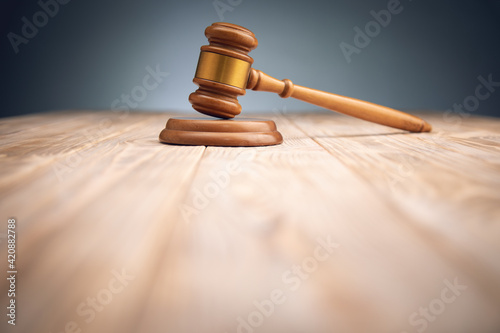 Fotografie, Obraz Judge gavel with books on wooden table.
