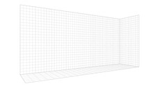 Perspective Drawing Grid Template, Long Narrow Hallway Wall. Black Lines Digital Illustration Isolated On White Background