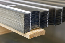 Steel Galvanized Corrugated Sheets For Construction And Repair Work. Close-up