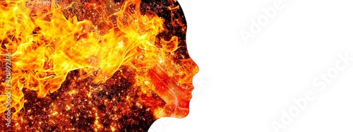 炎が渦巻く抽象的な女性の横顔イラスト