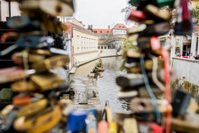 Padlocks Attached To Fence Near John Lennon Wall, Prague, Czech Republic