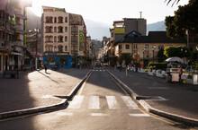 Sunlit View Of Road And Street In Banos, Ecuador
