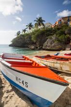 Boats On Lagun Beach, Curacao, Caribbean