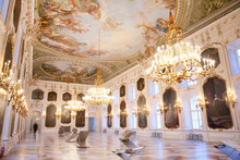 Illuminated Chandeliers In Hofburg Palace, Innsbruck, Austria