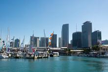 Bayside Marina And Miami Skyline, Downtown Miami, Miami, Florida, USA