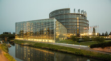 European Parliament At Night, Strasbourg, France