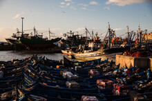 Fishing Boats In Harbour, Essaouira, Morocco, Africa
