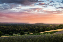 Landscape Over Fields And Forests, Elevated View, Nussbaum, Germany
