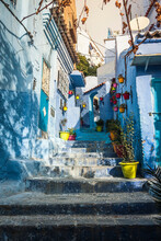 Blue Painted House Exteriors On Stairway, Chefchaouen, Morocco
