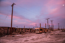 Abandoned Caravans And Debris, Salton Sea Beach, California, USA